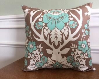 Throw Pillow Cover - Pillow Sham - Deer Pillow - Deer Print - Deer Antler Pillow - 14 16 18 20 inch - Deer Antler - Brown White Teal Blue