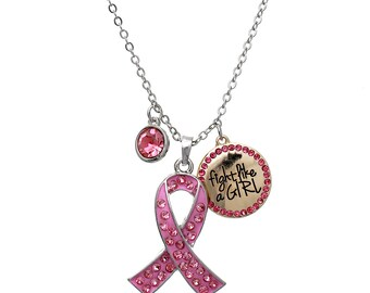 Breast Cancer Awareness Pink Ribbon Fight Like a Girl Charm Pendant Necklace Crystal Rhinestone