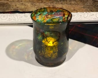 Mini stained Glass Hurricane votive holder