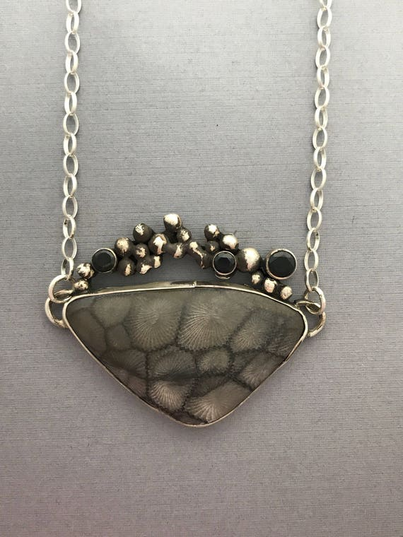 Fossil coral, Black spinnel, sterling silver, handmade, pendant