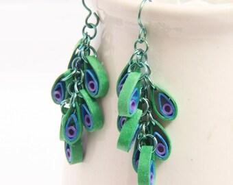 Peacock Dangle Chain Eco Friendly Earrings  Cluster Modern Paper Jewelry Niobium Earrings  Artisan Jewelry hypoallergenic