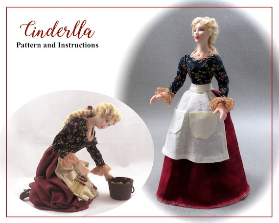 Dollhouse Doll CINDERELLA Doll Pattern and Instructions PDF Miniature 1:12 Scale Instant Download Disney Princess Step Mother (Beginner)