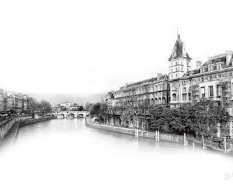 Art, Photography, Wall Art, Paris France, Seine River, Europe,  River Art, Paris Art, City Scape, Black White, High Key, Urban, B&W,