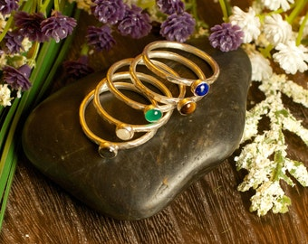 Mother's Ring Stacking Ring Sterling Silver Birthstone Ring