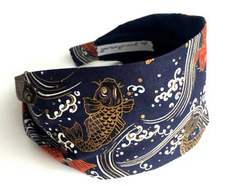 Japanese Headbands for women koi fish fabric hairband japanese head band blue cotton hairband metallic gold water asian hair accessories