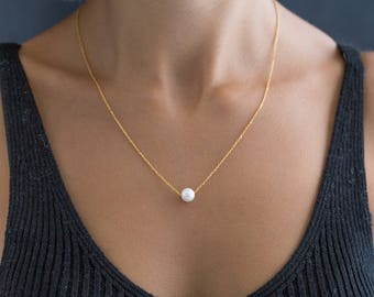 Single Pearl Necklace - Dainty Pearl Necklace - Single Floating Pearl Necklace - Tiny Freshwater Pearl Necklace - Delicate Pearl Necklace
