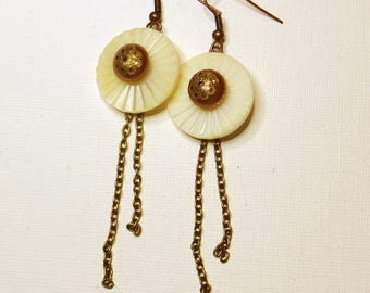 Sun and Pearl - #738 mother of pearl earrings