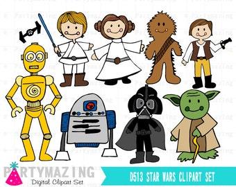 Star Wars Clipart, Space Wars Digital Clipart, Starwars Clip Art Graphic Set, Instant Download -D513