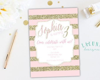 Gold & Pink Stripe Birthday Invitation, Gold Glitter Invitation, Girly Birthday Invite, Glitter Birthday Invitation