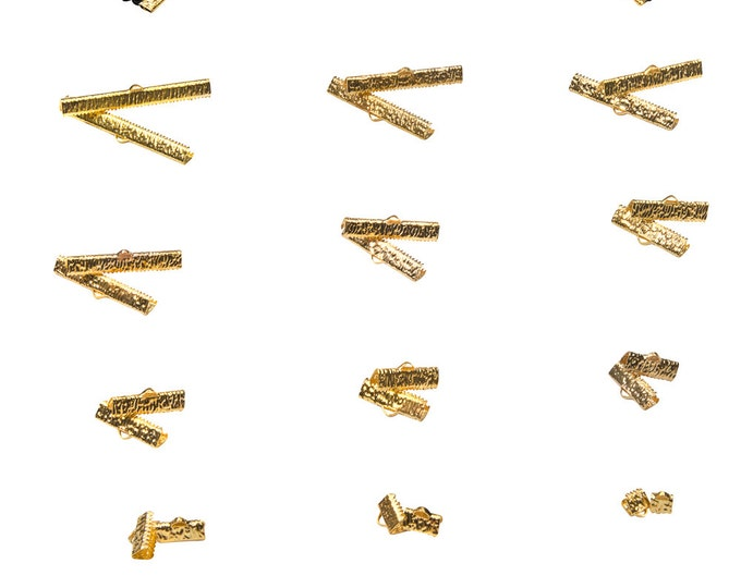Gold Ribbon Clamps End Crimps with Loop in Assorted Sizes - Artisan Series (24 pieces)