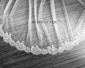 Eyelash Lace Veil, Lace Wedding Veil, Chapel Veil Lace from Midway, Mi Bridal Veil