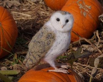 Needle Felt Barn Owl Bird Sculpture