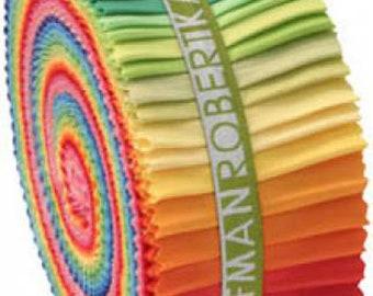 "Kona New Bright Palette Roll-Up by Robert Kaufman - (40) 2 1/2"" Strips - Jelly Roll"