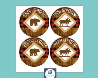 INSTANT DOWNLOAD Baby Month Stickers, Growth Stickers,  Monthly Baby Stickers, Milestone Stickers, Bear Moose Buffalo Plaid, Digital, PDF,