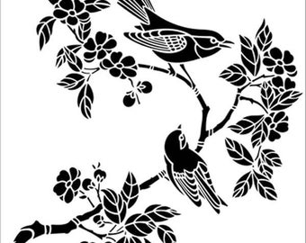 "Birds On A Blossom Branch 190 micron Mylar Stencil durable and sturdy- 8 x 8 "" - 12 x 12"" Free UK p&p"
