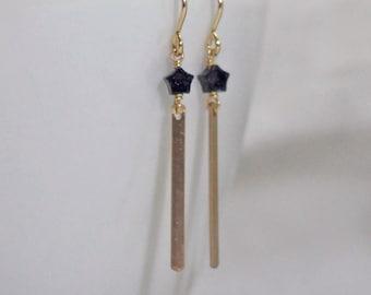 Tiny Blue Star Earrings / Gold Fill Thin Bar Earrings / Christmas Earrings / Night Star Earrings / Goldstone Sparkle