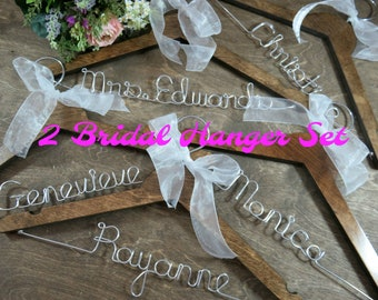 Bride Hanger Set - Personalized Silver Aluminum Wire Names - Brown Wood - Wedding Photo Props - Bridal Party - Set of Hangers - Personalize