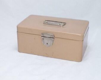 Vintage Excelsior File or Cash Box in Beige - Industrial Appeal