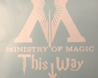 Harry Potter Decal, Ministry of Magic This Way decal