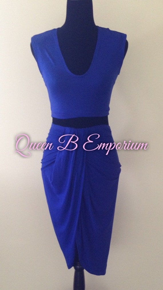 Royal Blue Two Piece Dress Set 2 Piece outfit set Cocktail Empire Waisted Quality Dress Clubwear