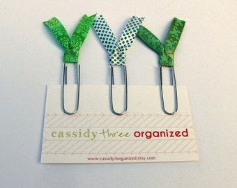 Green Print Planner Clips, Planner Clips, Organizer Clips