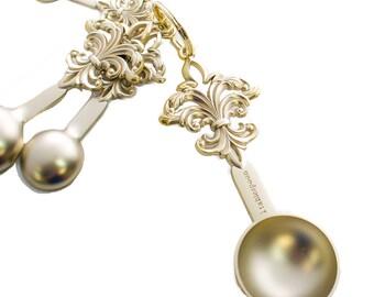 Fleur De Lis  Matte Measuring Spoons - Gold