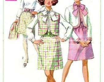 Simplicity 8040 Dainty Dress, Jacket & Sleeveless Jacket 1968 / SZ12 UNCUT