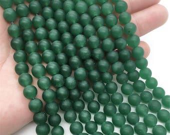 8mm Matte Green Jade Beads, Round Gemstone Beads, Wholesale Beads