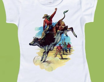 Bull Rider T-Shirt, Vintage Western,One Piece Baby, Rodeo Shirt, Toddler Tee, Baby Clothes, Kids Shirts, Baby Gift, by ChiTownBoutique.etsy