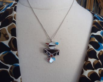 """Vintage Native American Multi Stone and Sterling Silver Thunderbird Pendant on 18"""" Sterling Box Chain"""