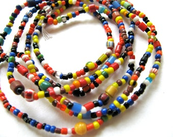 Glass beads, multicolor, 35 inch strand - #179