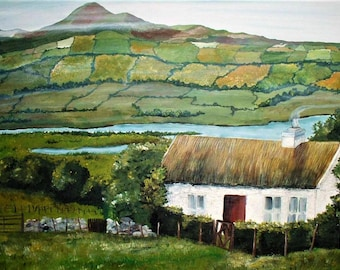 Ireland Irish Landscape County Mayo, Card Painting Print