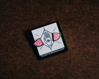 Handmade Tiny Watermelon Stud Earrings | Cute Hand Painted Fruit Post Earrings