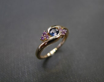 Mother's Day gift, Mother day jewelry, Blue Sapphire with Amethyst Engagement Ring in 14K White Gold, Blue Sapphire Ring, Amethyst Ring