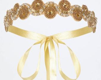 Gold Eliza Great Gatsby Flapper Wedding Headband Vintage inspired 20s Beaded Charleston Downton Abbey Wedding Art Deco New HandMade