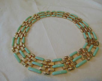vintage unused fragments mfg. necklace statement gold mint green enamel plated bold mesh