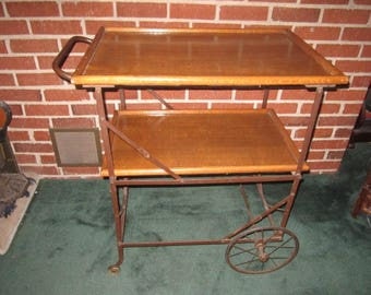 Antique Circa 1900 Exceptional Industrial Steampunk Oak and Iron Collapsible Bar Serving Cart