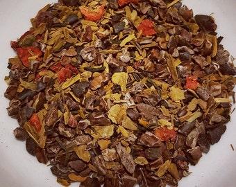 Brigit's Fire - Campfire Tea,  Lapsang Souchong, Cacao Nibs, Cinnamon, Dried Strawberries, Smokey Tea, Unique Tea