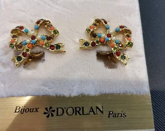 D'Orlan Clip Earrings from the Buried Treasure Collection handset with Swarovski crystals.  Signed, Carded, New