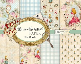 Alice in Wonderland Paper - Scrapbooking Printable Paper - 12 x 12 inch - background - set of 8 - Printable Download