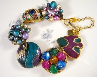 Bridesmaid Gift, Vintage Earring Bracelet, Reclaimed, Gold, Cluster, Flower, Black, Charm, Jennifer Jones, Under 40, Cluster - Twilight Time