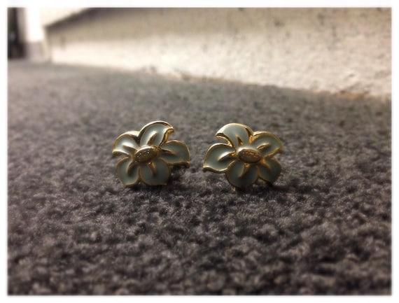 Blue Enamel Flower Clip On Earrings