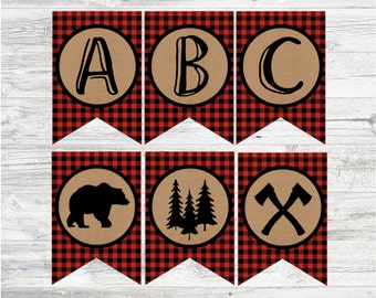 Lumberjack Party Banners. Full Alphabet, Happy Birthday, It's A Boy, & Timber. Digital Party Banners. Instant Digital Downloads.