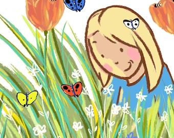 Flowers Butterflies Printable Illustration Design