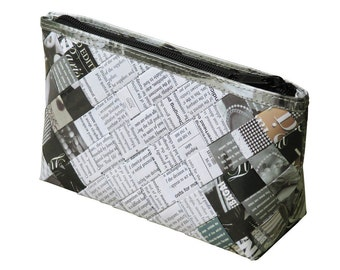 Makeup case is using magazine paper and office document paper, FREE SHIPPING, vegan case, eco-friendly makeup bag, upcycling by milo