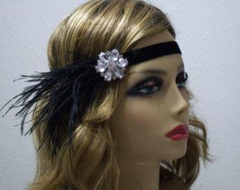 1920s Flapper Fashion, Great Gatsby, 1920s headpiece, Rhinestone headband, 1920s Hair accessory,  Art Deco style, Vintage inspired