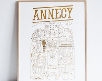 Annecy Gold Limited Edition / 50 x 40 / Illustration / travel / poster / city / wall decor / gold / Map / Design