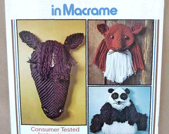 Vintage Macramé Patterns - Creative Critters In Macrame - 3D Macramé Animals - Macramé Horse - Macramé Dog - Macramé Squirrel - Macramé Dog