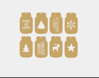 mason jar christmas gift tags svg dxf jpeg png file stencil monogram frame silhouette cameo cricut clip art commercial use
