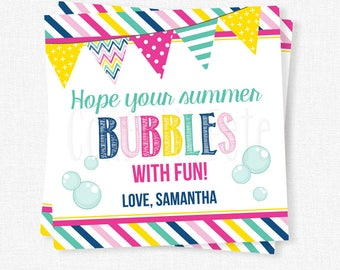 Hope Your Summer Bubbles With Fun Tag, End of School Year Tag, Last Day of School Gift Tag, Printable Summer Tag, Bubbles Gift Tag